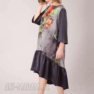 sukienki falbanka kwiatowa sukienka z marszczoną