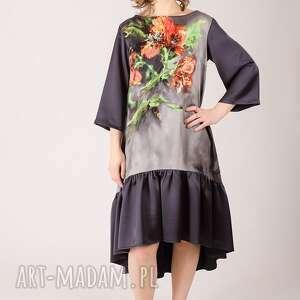 ręcznie zrobione sukienki falbanka kwiatowa sukienka z marszczoną