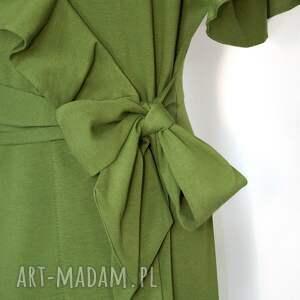 ciekawe sukienki maxi długa zielona sukienka z kopertowym wiązaniem