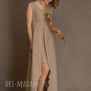 gustowne sukienki sukienka lniana beżowa