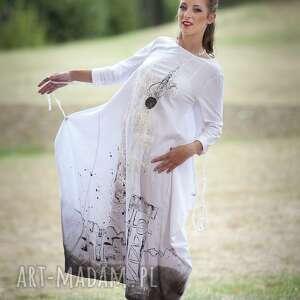 intrygujące sukienki sukienka lniana biała malowana