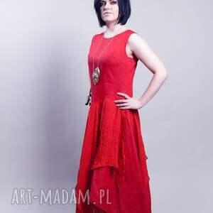 sukienki lniana czerwona sukienka