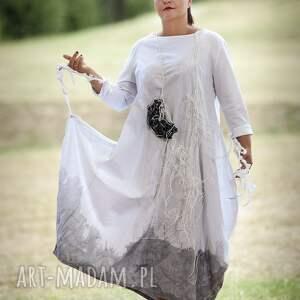 szare sukienki lniana sukienka malowana twarze