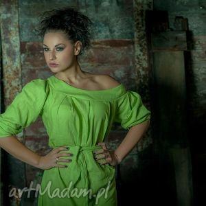 sukienki eko lniana zielona sukienka