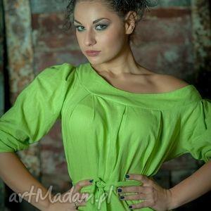 trendy len lniana zielona sukienka