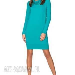 hand-made sukienki sukienka luźna z podwójnym golfem