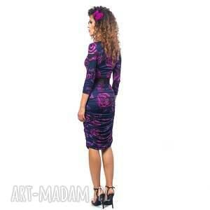 fioletowe sukienki marszczenia malena - sukienka w kwiaty