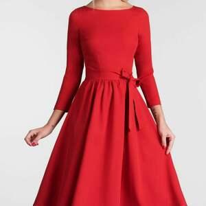 trendy sukienki czerwona sukienka marie 3/4 midi czerwień