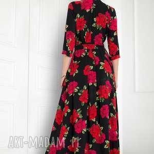 czerwone sukienki sukienka maxi w róże