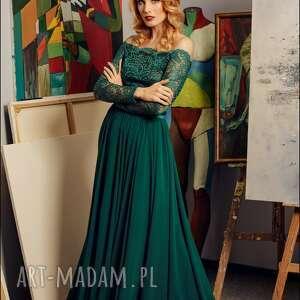 zielone sukienki sukienkanawesele maxi sukienka z szyfonową spódnicą