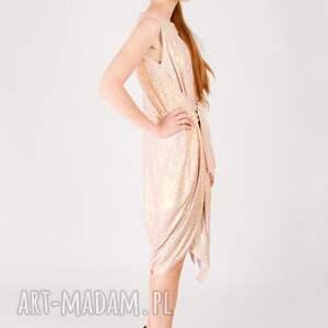 beżowe sukienki hologram metaliczna sukienka tuba
