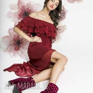 sukienki hiszpanka mia - czerwona jedwabna