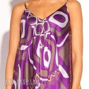 jedwabna sukienki fioletowe sukienka kala