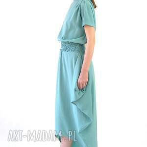 turkusowe sukienki jedwab mirissa - suknia jedwabna