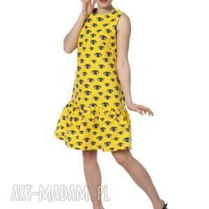 designerska sukienki żółte niezwykła, kobieca i zadziorna