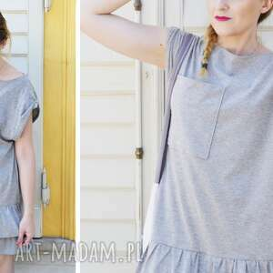 sukienki dresowa sukienka oversize letnia szara