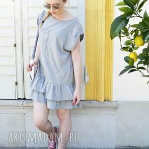wyraziste sukienki sukienka oversize letnia szara