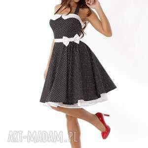 c3ed7e2fb6 piękna rozkloszowana sukienka czarna w groszki