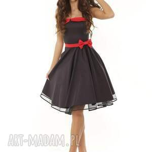 434f6978f7 sukienki - piękna rozkloszowana sukienka pin up czarna - ella