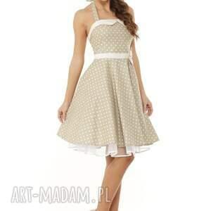 173a9b0cfd Handmade sukienki - piękna rozkloszowana sukienka pin up beżowy