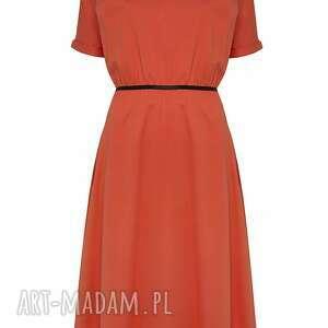 sukienki midi pomarańczowa sukienka