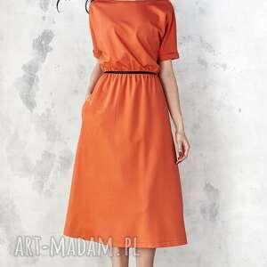 midi sukienki pomarańczowa sukienka