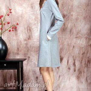 ręcznie zrobione sukienki sukienka popielata z białym