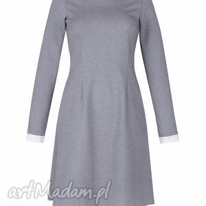 mankiety sukienki popielata sukienka z białym