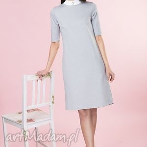 unikatowe sukienki sukienka popielata ze stójką