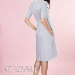 sukienki stojka popielata sukienka ze stójką