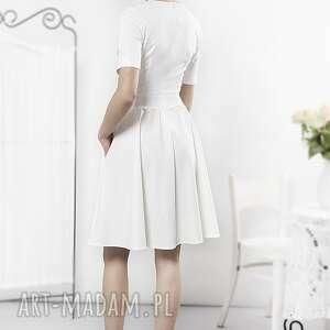 niebieskie sukienki sukienka porcelanowa ecru