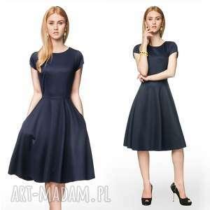 rozkloszowana sukienki sukienka star midi granat