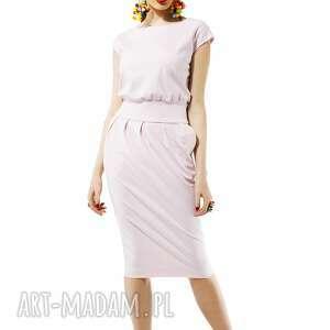 sukienki mono pudrowa sukienka