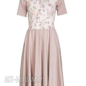 retro sukienki pudrowa sukienka z kwiatowym