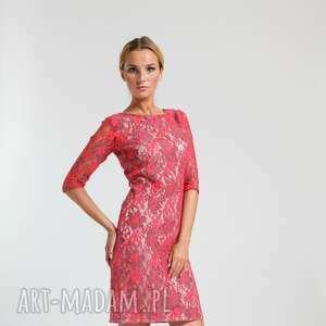 beżowe sukienki ramona - sukienka czerwona