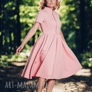 sukienki midi rozkloszowana, różowa