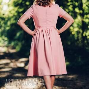 sukienki sukienka rozkloszowana, różowa midi