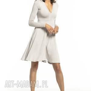 sukienki: Rozkloszowana sukienka z dekoltem V, T288, jasnoszary