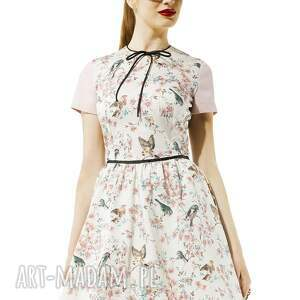 intrygujące sukienki sukienka rozkloszowana w ptaszki