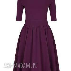 fioletow sukienki rozkloszowana sukienka z paskiem