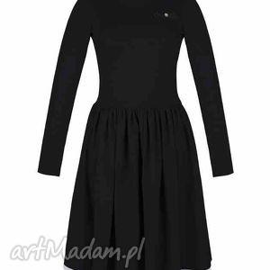 szare sukienki rustic rozkloszowana sukienka z haftowaną