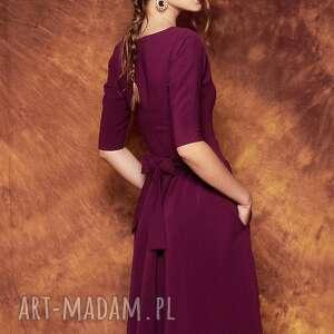 sukienki fioletow rozkloszowana sukienka z paskiem