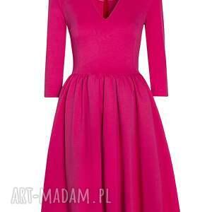 czerwone sukienki sukienka rozkloszowana midi