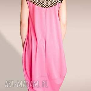 oversize sukienki różowa sukienka ze wstawką z siatki