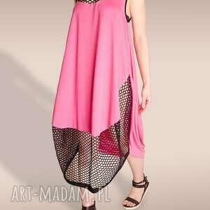 gustowne sukienki siatka różowa sukienka ze wstawką z siatki