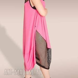 różowe sukienki siatka różowa sukienka ze wstawką z siatki