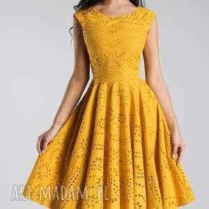 pomarańczowe sukienki sukienka miodowa scarlett midi haft richelieu