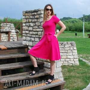 różowe sukienki kobieca sofi sukienka rozkloszowana