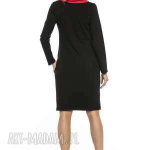czarne sukienki sportowa sukienka z kominem