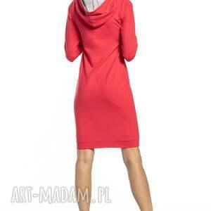 czerwone sukienki sportowa sukienka z kapturem, t292